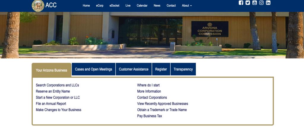 Arizona Corporate Commission website