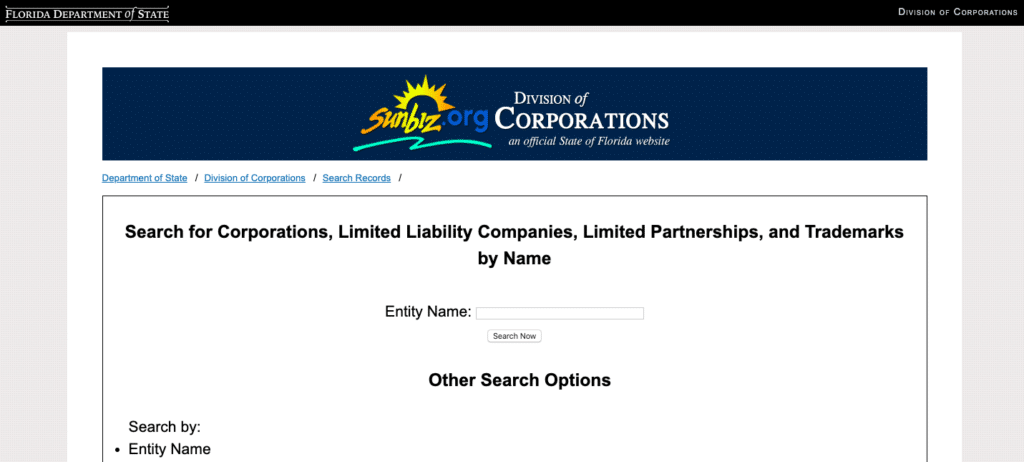 FLorida Business Name Search