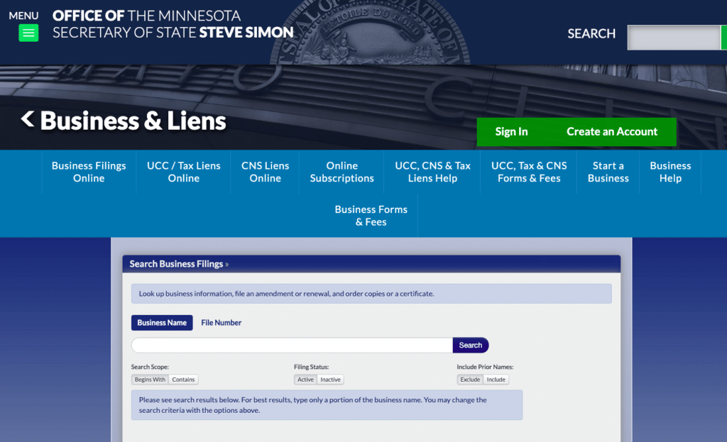 Minnesota Secretary of State Name Search Page