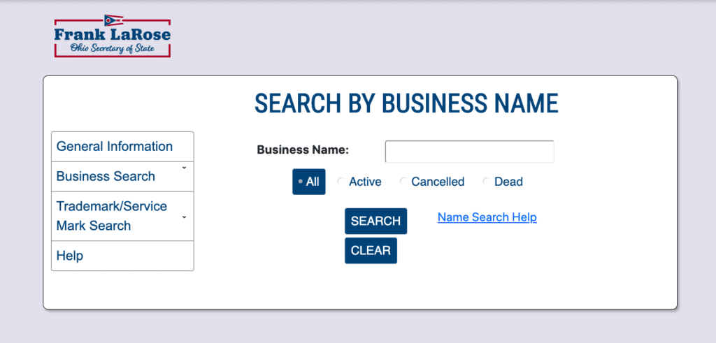 Ohio business name search page