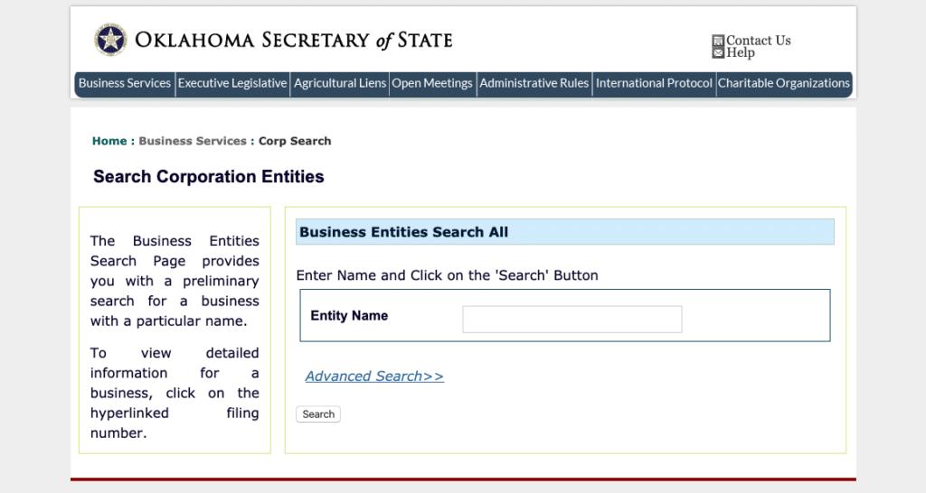 Oklahoma Serch Corporation Entities Page