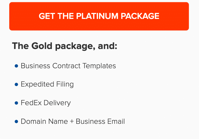 Incfile Platinum Incorporation Package