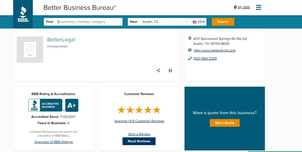 BetterLegal reviews on Better Business Bureau and BBB rating