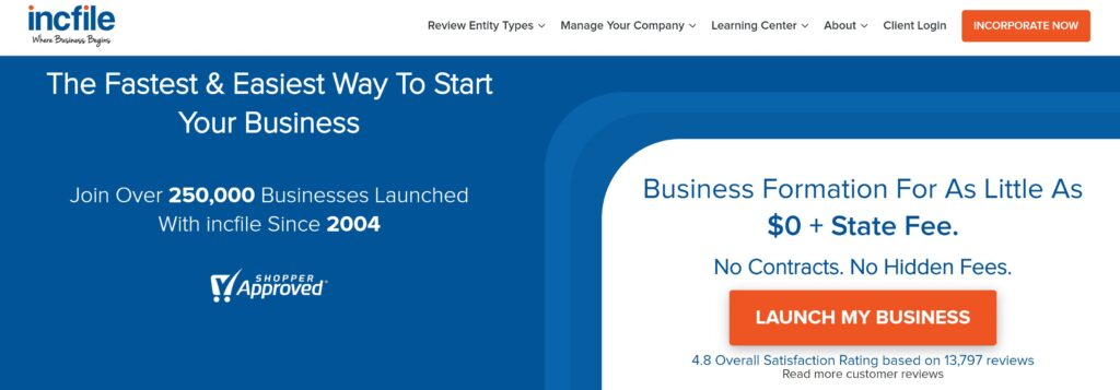 Incfile Launch business