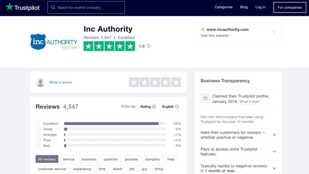 Inc Authority reviews on Trustpilot 2021