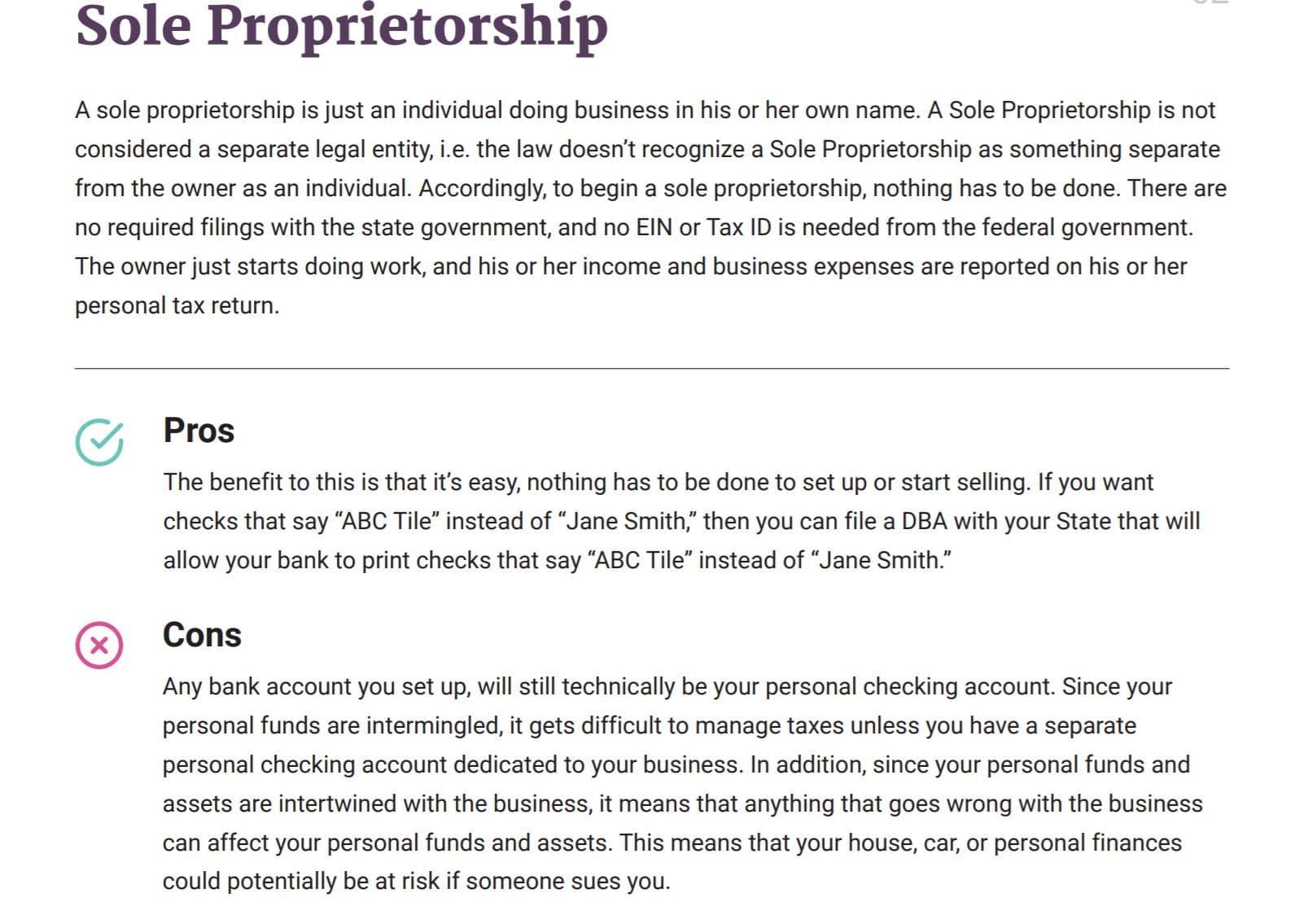 BetterLegal Sole Proprietorships